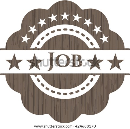 Job badge with wooden background