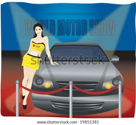 Job Character background with blue wall - beautifully smiling young Asian woman with automobile for world motor show in car showroom - stock vector