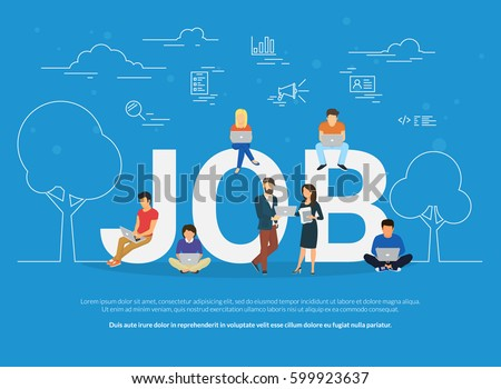 Job concept vector illustration of business people using devices for working, job searching and professional growth. Flat concept of young men and women using laptop for team work and self-development