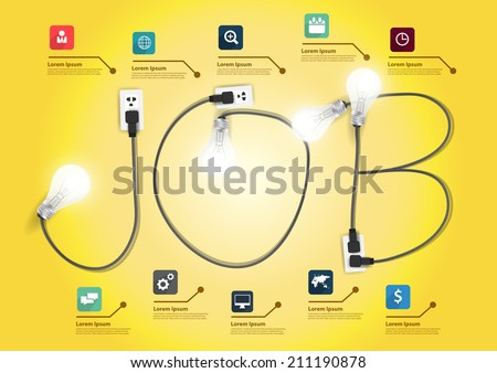 Job concept with creative light bulb ideas, With business flat icons set abstract info graphic banner workflow layout, diagram, step up options, Vector illustration modern design template - stock vector