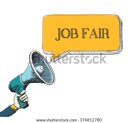 JOB FAIR word in speech bubble with sketch drawing style - stock vector