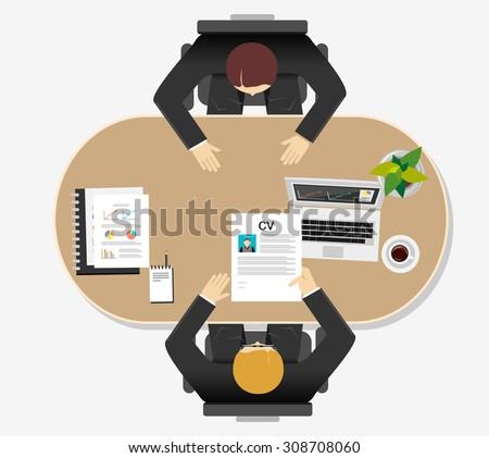 Job interview concept illustration. Flat design. - stock vector