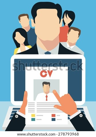Job interview concept with business cv resume - stock vector