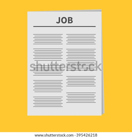 Job Newspaper icon Flat design Isolated Yellow background Vector illustration - stock vector