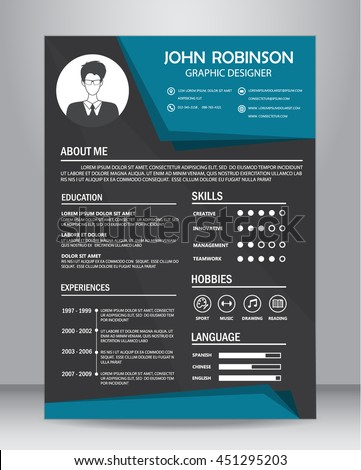 Job Resume Cv Design Template Layout Stock Vector