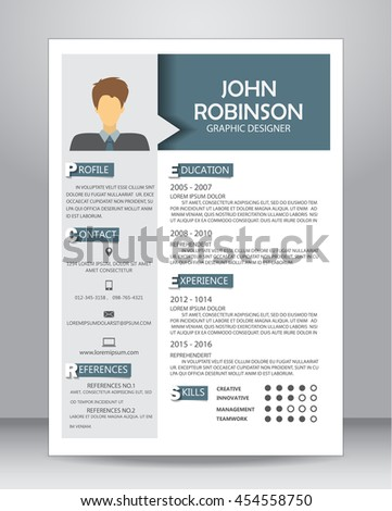 Job Resume Or CV Layout Template In A4 Size. Vector Illustration  Layout For Resume
