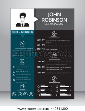 job resume cv template layout templateのベクター画像素材 440311300