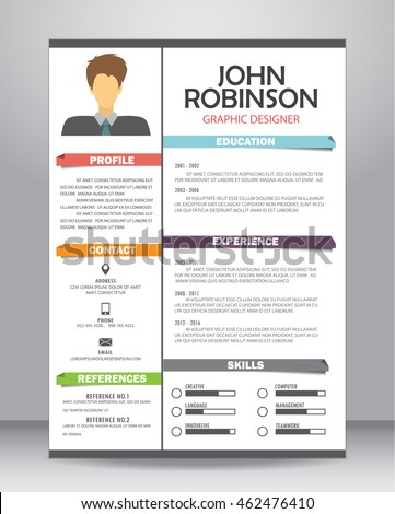Job Resume Cv Template Layout Template Stock Vector 2018 462476410