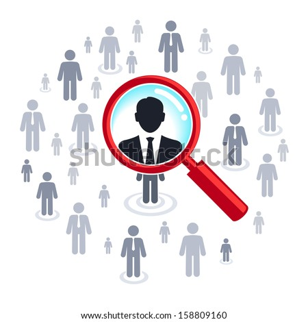 Job search and career choice employment concept, magnifying glass searching people  - stock vector