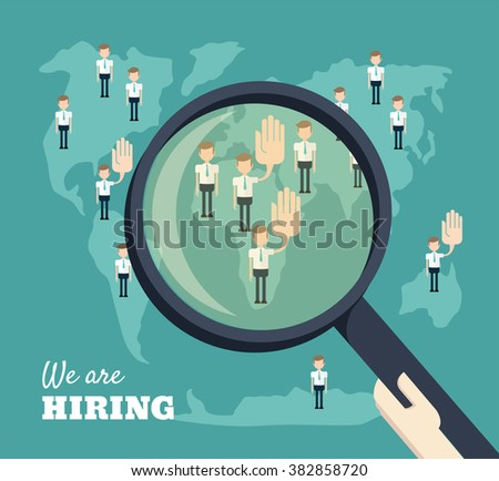 Job search and career choice employment concept, magnifying glass searching people. We are hiring concept - stock vector