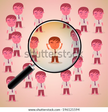 Job search and career choice, magnifying glass searching people business concept vector - stock vector