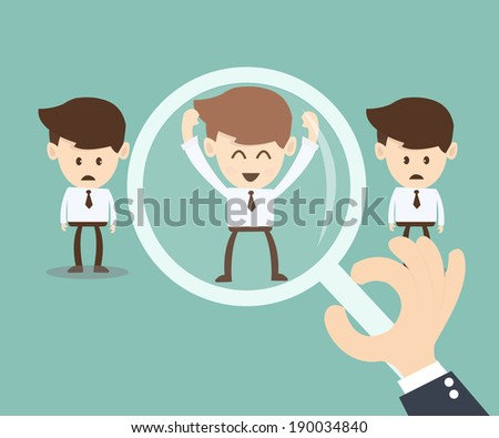 Job search and Human resource concept, magnifying glass searching people - stock vector