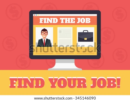 Job search and human resources. Vector flat illustration - stock vector