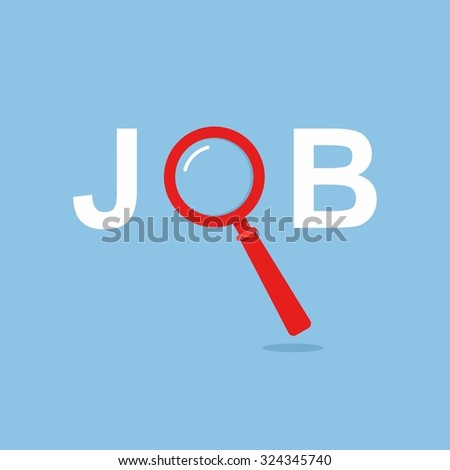 Job Search concept with Magnifying Glass. Vector Illustration - stock vector