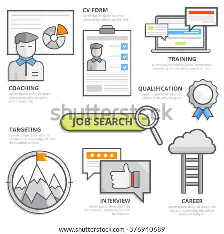 Job Search Design Concept Cv Resume Stock Vector Royalty Free