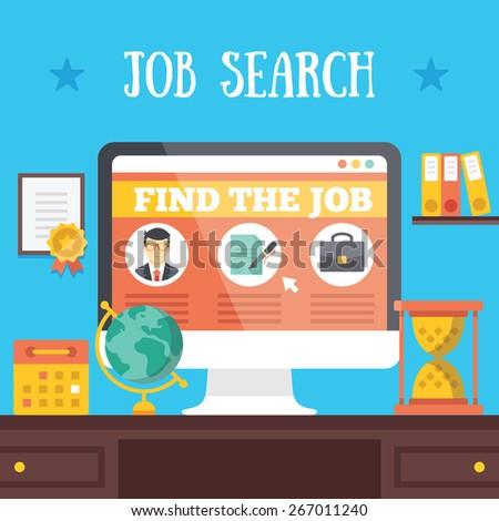 Job search illustration. Job hunting, job seeking, or job searching concept. Vector flat illustration. - stock vector