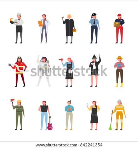 job uniform man character set vector illustration flat design