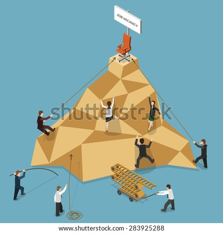 Job Vacancy Flat Isometric Vector Concept Illustration. People Climbing to the Mountain to Get Job Vacancy. - stock vector