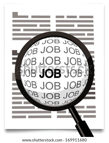 job word under magnifying glass, hand lens  - stock vector