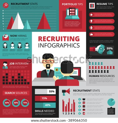 Jobs search strategy for employment and successful career with recruitment statistics and resume tips infographics design vector illustration  - stock vector