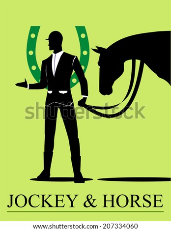 Jockey and his horse, combine with the green horseshoe icon at the background - stock vector