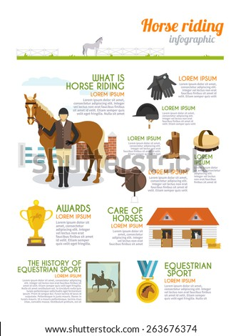 Jockey infographics set with horse rider equestrian sport signs vector illustration - stock vector