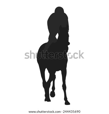 Jockey Riding A Horse Races Silhouette