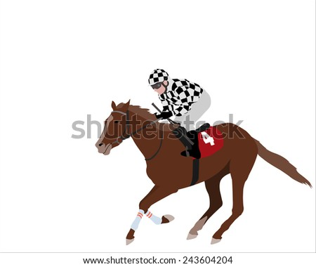 jockey riding race horse illustration 2 - stock vector