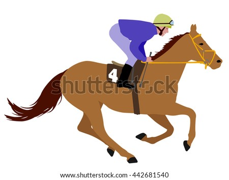 jockey riding race horse illustration 3 - stock vector