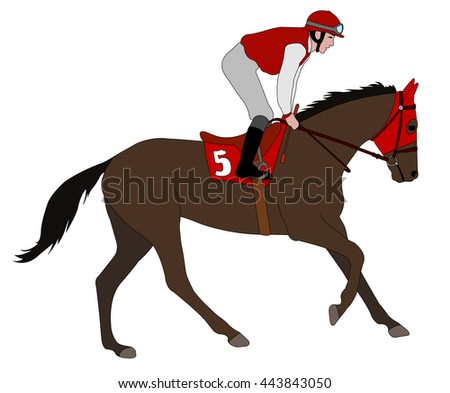 jockey riding race horse illustration 5 - vector - stock vector