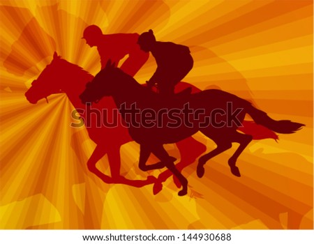 jockeys riding horses on the abstract background - stock vector