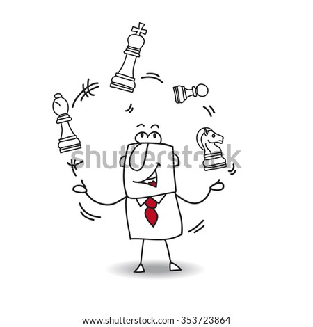Joe and the chess game. Joe juggles with a chess game. It is a metaphor of strategy or failure.... As you wish - stock vector