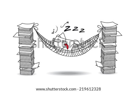 joe is sleeping in a hammock. Joe is lying in his hammock between two paper stacks. He do a break - stock vector