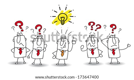 Joe is the best in the team. He finds the solution ! - stock vector