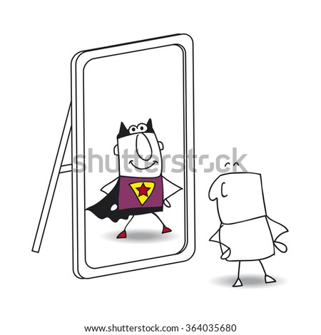Joe looks in the mirror. He sees a superhero in the reflection. It's a metaphor of the power which is in each person - stock vector
