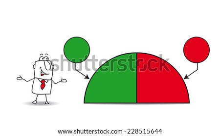 Joe shows a pie chart with the results of his company. the balance sheet is fifty percents. Write your data in the free space. - stock vector