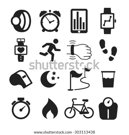 Jogging and workout modern monitoring apps and gadgets icons collection - stock vector