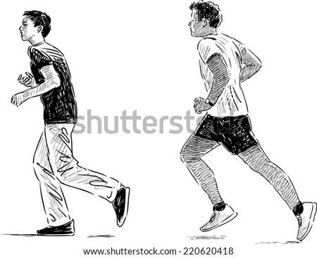 jogging boys - stock vector