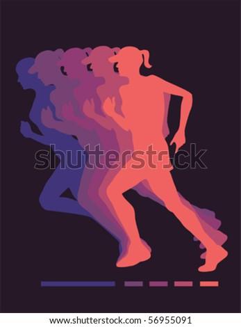 Jogging women vector - stock vector