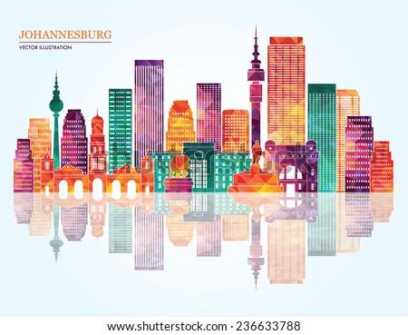 Johannesburg city detailed skyline silhouette. Vector illustration - stock vector