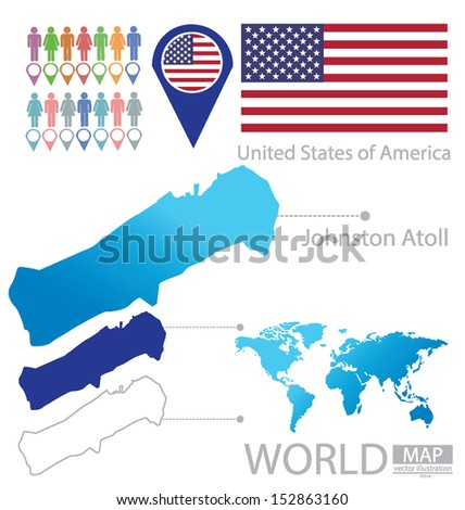 Johnston Atoll. United States of America. flag. World Map. vector Illustration.