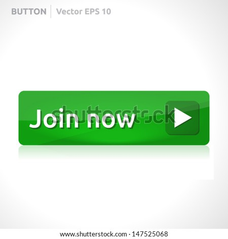 Join now button template | vector design eps | business banner with symbol icon | website element | web green - stock vector