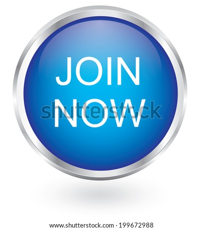 Join now icon glossy button - stock vector