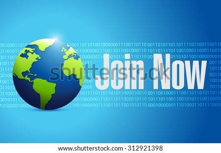 Join Now international binary sign concept illustration design graphic - stock vector