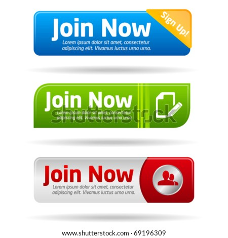 Join now modern minimal button collection - stock vector