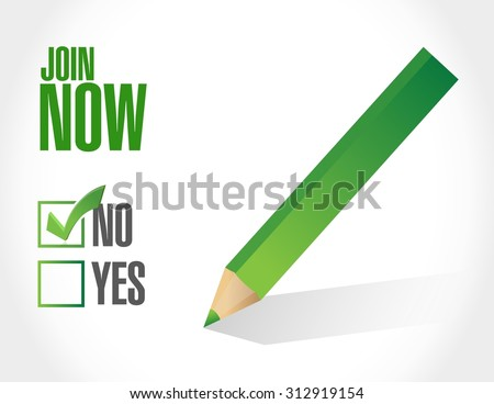 Join Now negative check mark sign concept illustration design graphic - stock vector