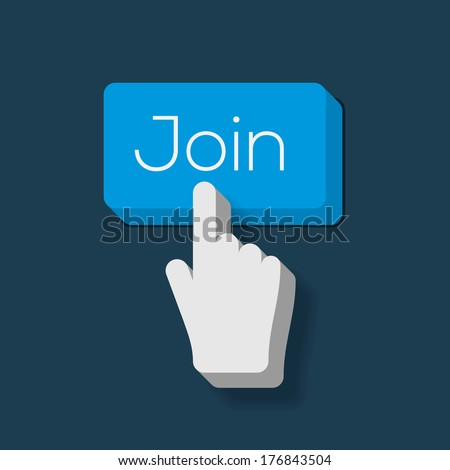 Join us Button with Hand Shaped Cursor, vector image.  - stock vector