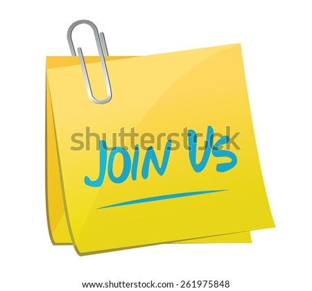 join us memo sign concept illustration design over white - stock vector