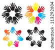 joined hands to form circles of different colors over white background - stock vector