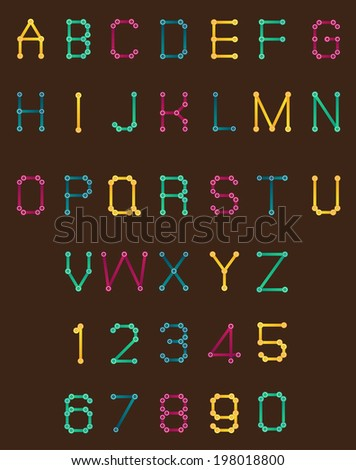 joint colorful font style. - stock vector